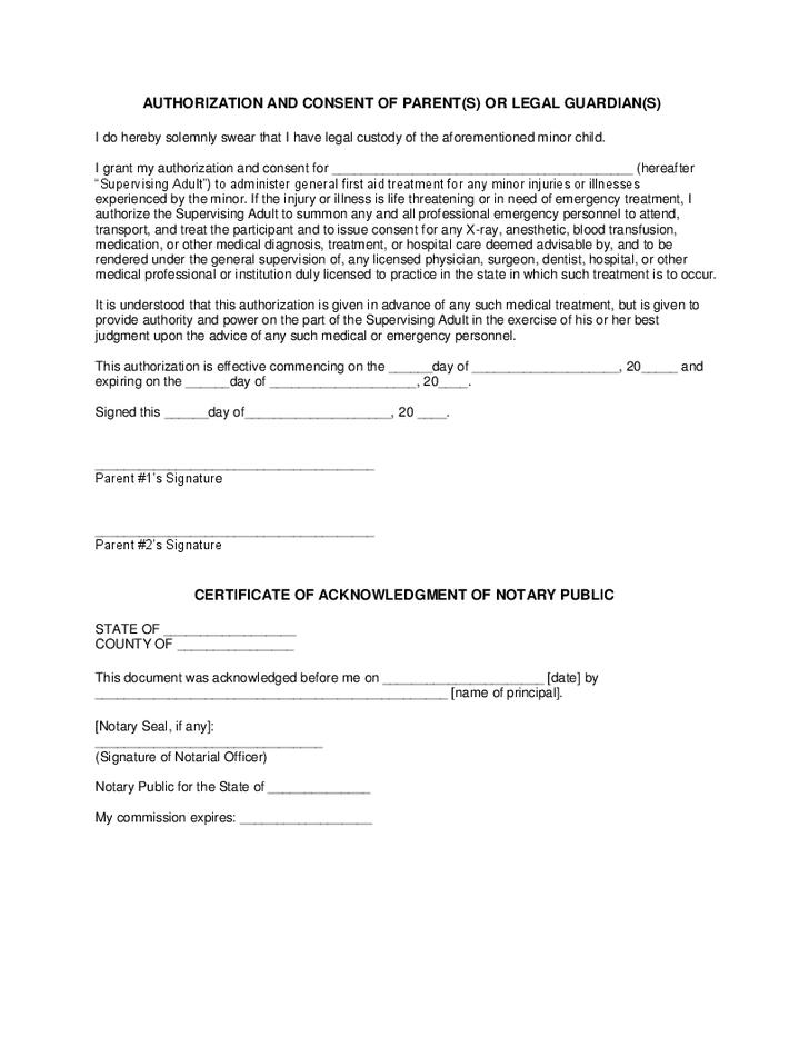 minors medical treatment hashdoc parental consent for ...