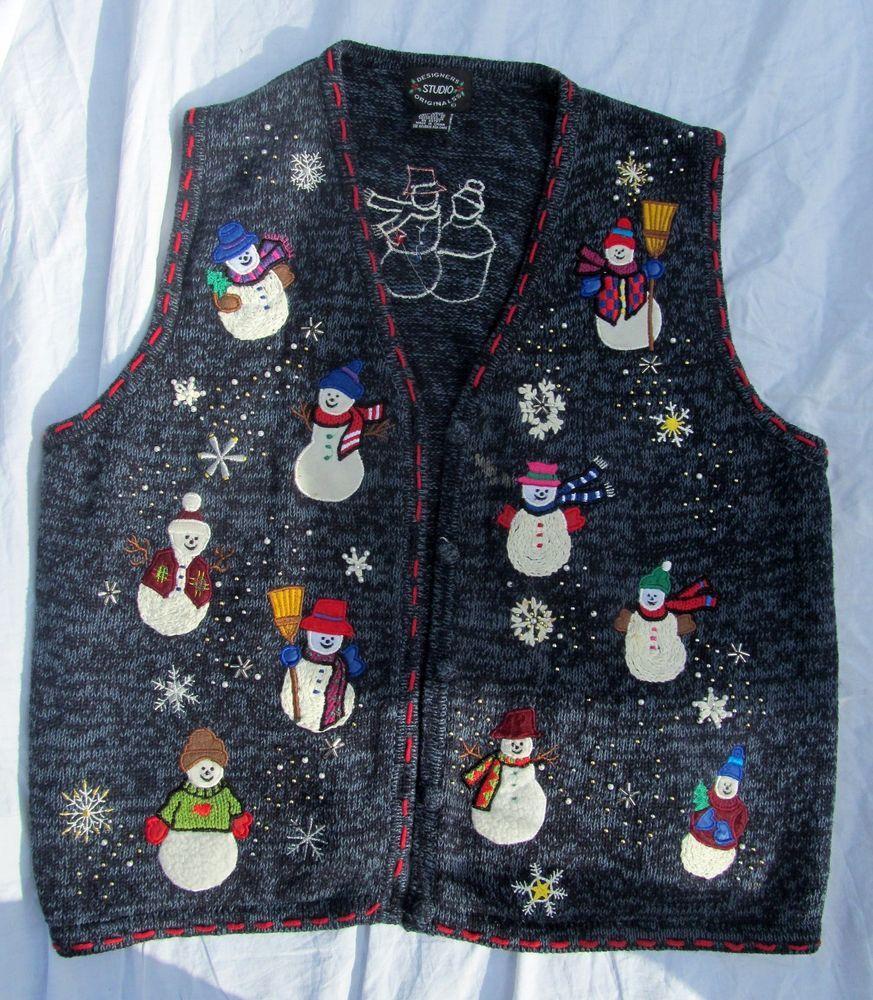 Women's Ugly Christmas Holiday Snowman Teacher Sweater Vest ...