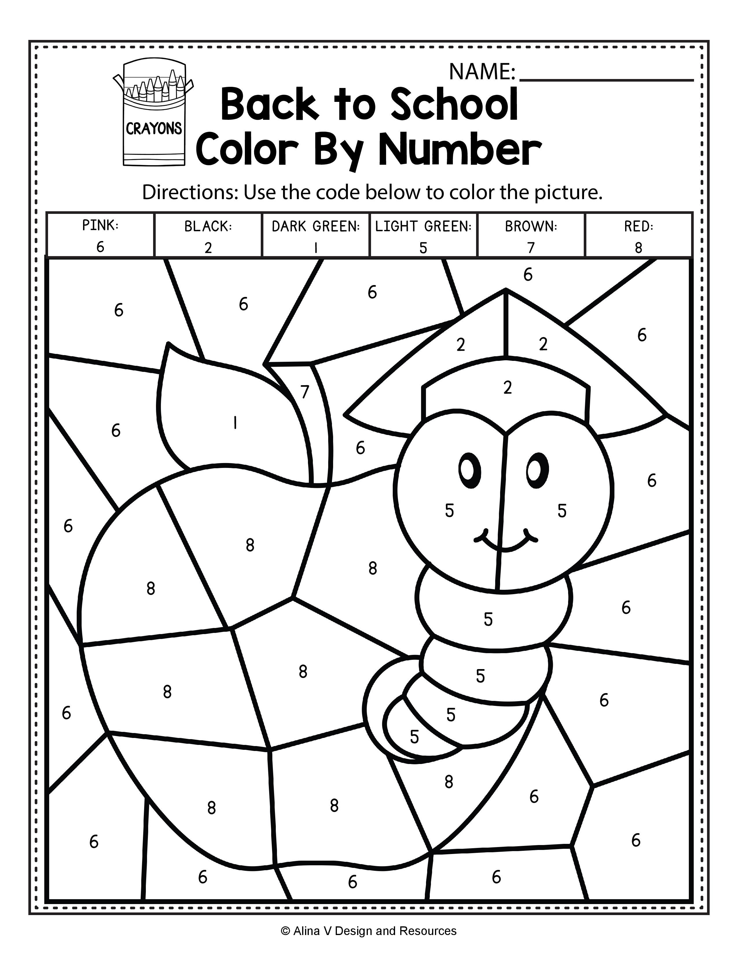 Back To School Color By Number Math Worksheets and activities for  preschool [ 3300 x 2550 Pixel ]