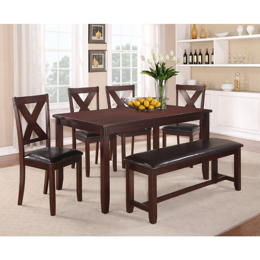 crown mark clara 6pc dinette table and chair set ensemble table a manger avec banc