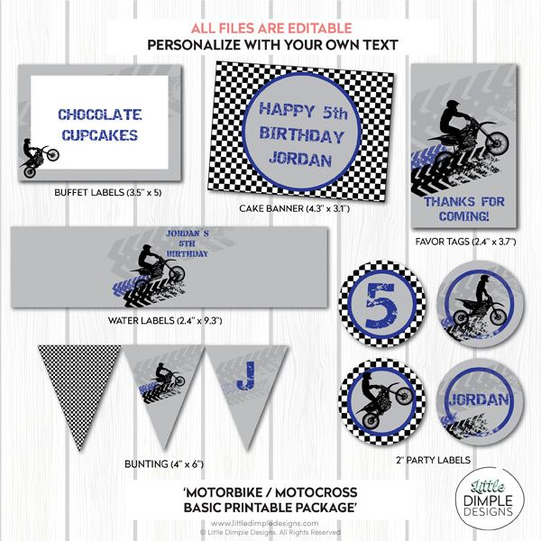 Motorbike Motocross Dirt Bike Printable Party Package