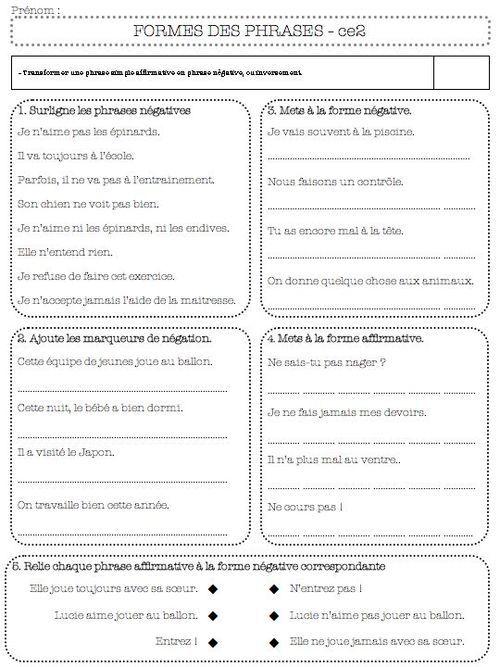 grammaire-évaluation la forme de la phrase ce2 | Types de phrases, Phrase interrogative et ...