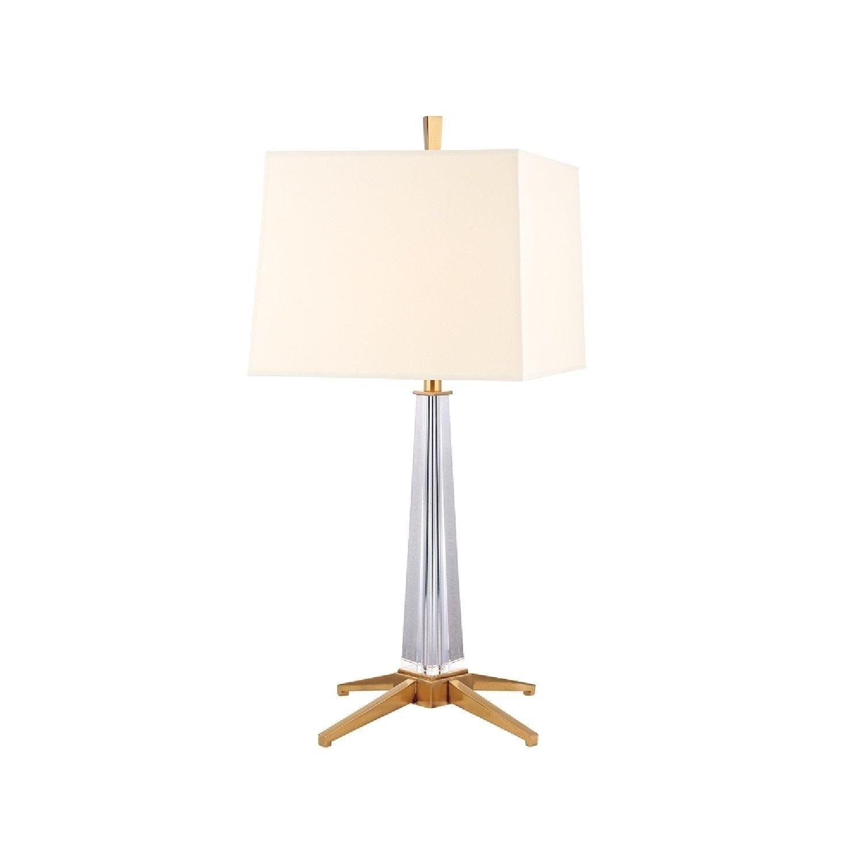 Hudson Valley Hindeman 1-light Brass Table Lamp, White Shade