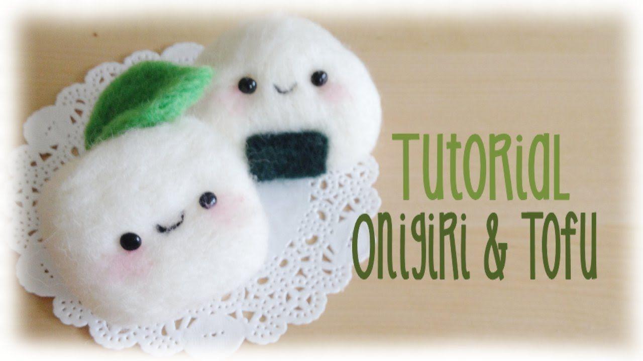 Kawaii Tofu Onigiri Needle Felt Tutorial Needle Felting Projects Felting Tutorials Needle Felted Bunny