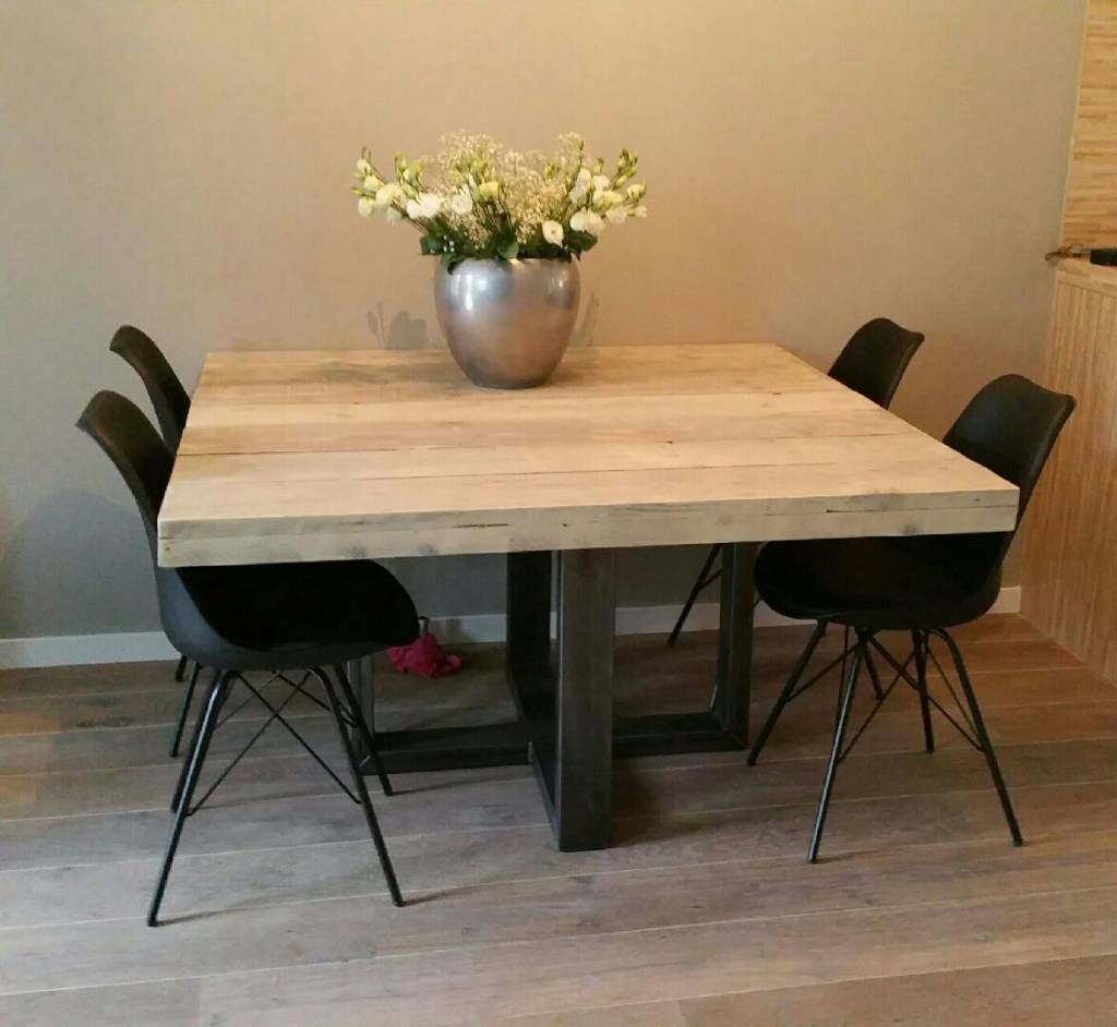 Grijze Vierkante Eettafel.Vierkante Eettafel Met Stalen Frame In 2019 Vierkante