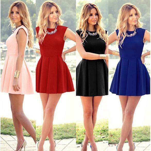 c2d80a405103 Women Dress Summer Short Mini Dress Ladies Sleeveless Beach Evening Party  Dress  summerdressesmini