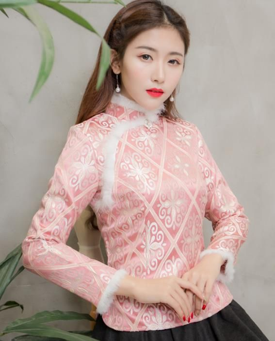 a54cdc187d8 Traditional Chinese National Costume Hanfu Pink Qipao Blouse