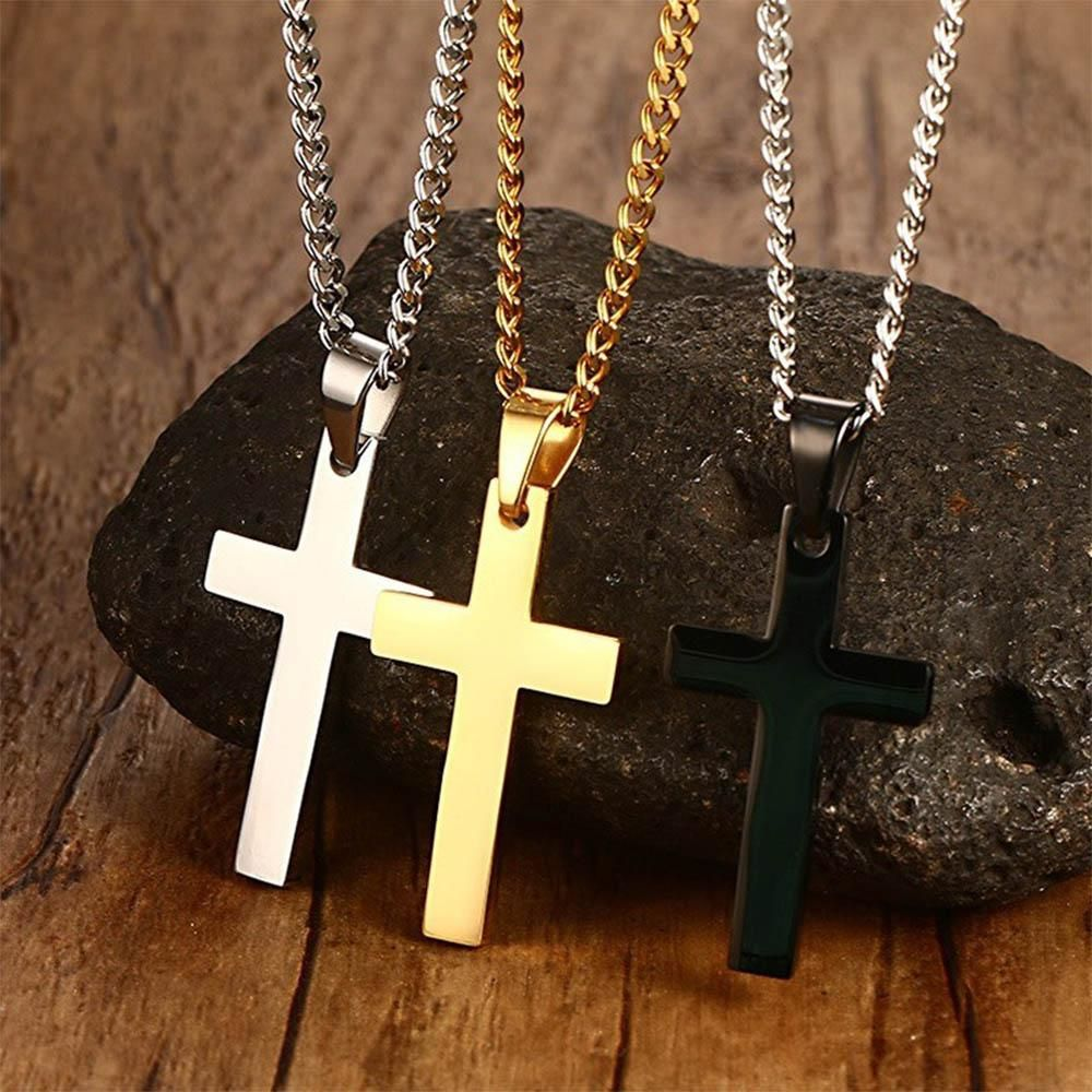 Newest men cross pendant necklace stainless steel link chain