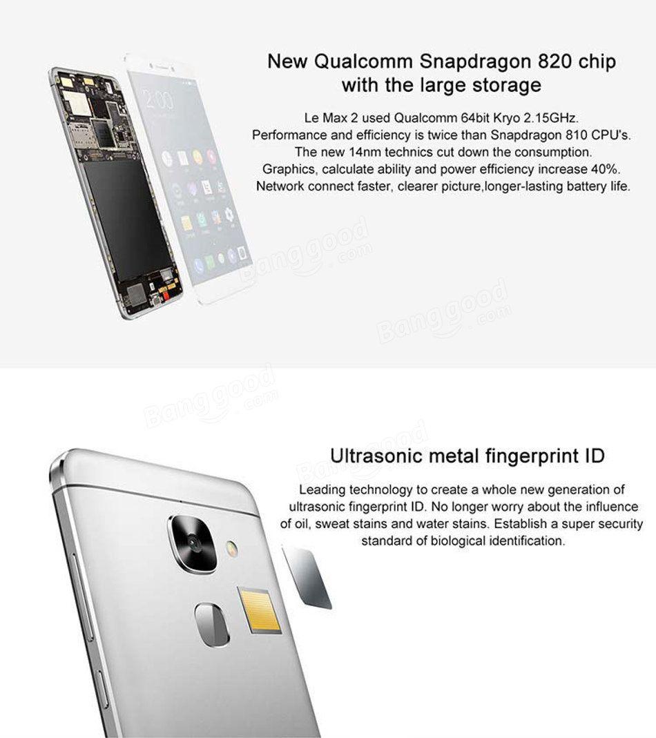 LeTV LeEco Le Max 2 X829 5.7 Pulgadas 4GB RAM  64GB ROM Snapdragón 820 Quad Core 4G Smartphone