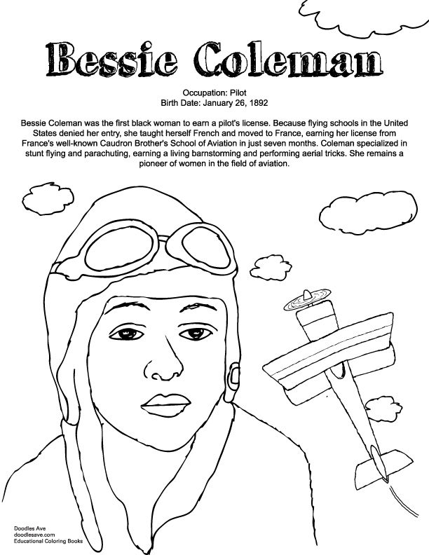 Bessie Coleman | Delightful Doodles Coloring Fun | Coloring pages ...