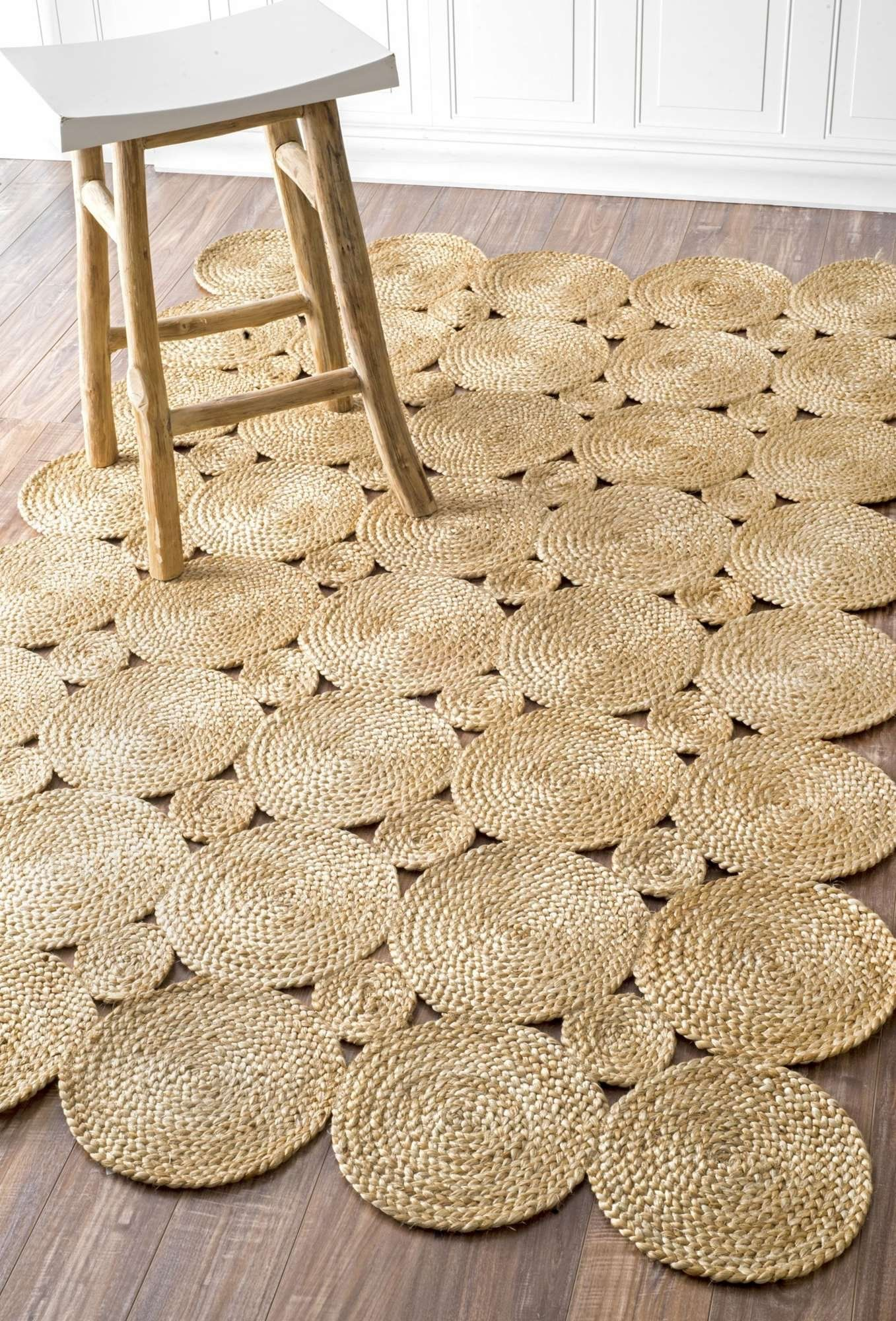 Contemporary Area Rug Indoor Outdoor Rugs Oval Round 5 X 8 Rectangle Natural Color Braided Decorative Circles Pattern Home Decoration