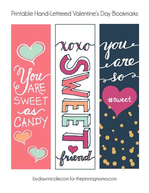 Hand-Lettered Valentine's Bookmark Printables | Embroidery ...