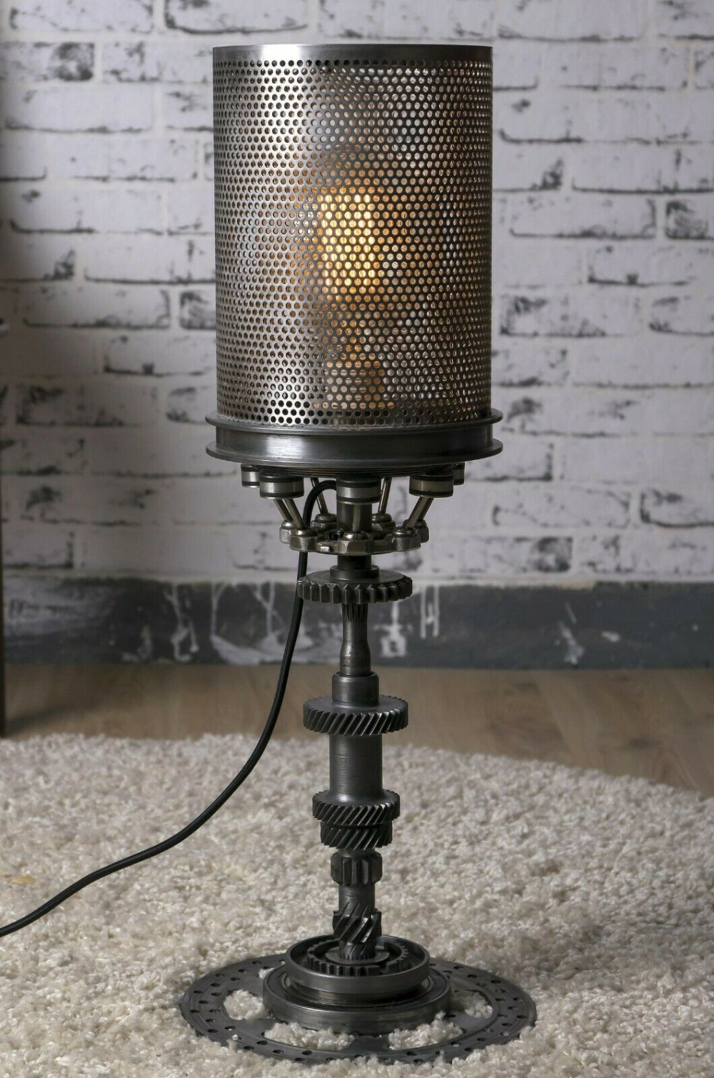 Einzigartige Steampunk Lampe Industrielle Beleuchtung Dekor Vintage Auto Teile Zahrad In 2020 Steampunk Lamp Diy Lamp Steampunk Lighting