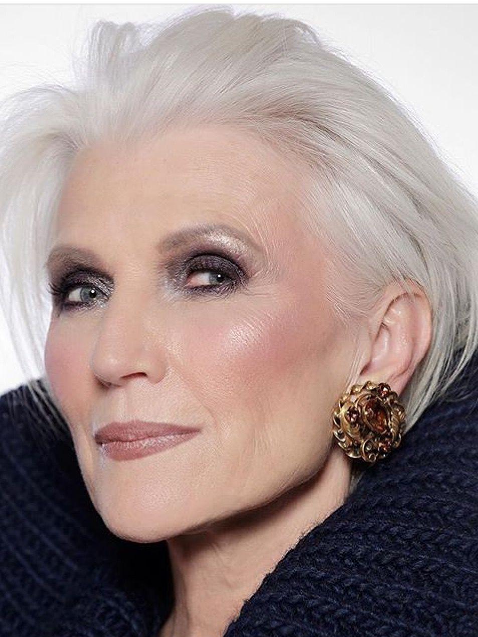 love the makeup | silver hair in 2019 | maye musk, short
