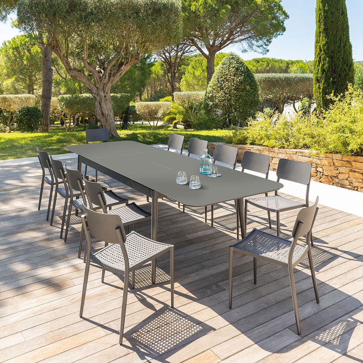 Table de jardin extensible Iceland Graphite 12 places - Aluminium ...