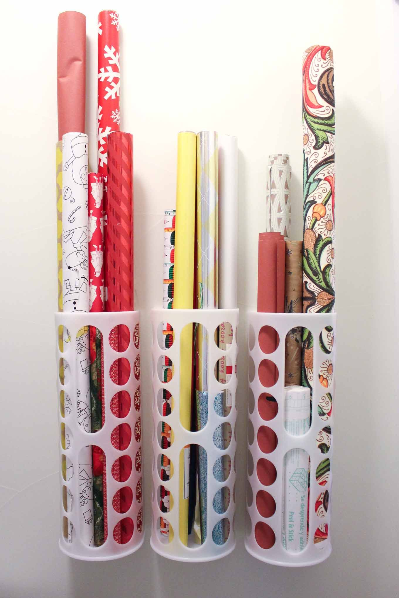 diy vertical wrapping paper storage idea ikea hack wrapping paper. Black Bedroom Furniture Sets. Home Design Ideas