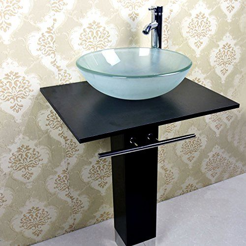 Elecwish 23 Inch Wide Modern Bathroom Vanities Pedestal Frosted