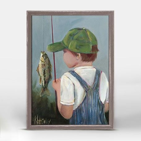 """""""Lil' Fisher Boy"""" Mini Framed Canvas from Oopsy Daisy, Fine Art for Kids. Size – 5˝x7˝. Art by Kristina Bass Bailey. Rustic frame color is predetermined. Browse our entire collection of Mini Framed Canvas art for kids!"""