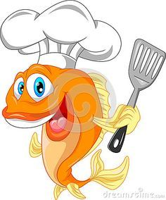 Cartoon Fish Wearing A Chef Hat Logo Pinterest Chef Hats Cartoon Fish Cartoon Sea Animals Giraffe Art