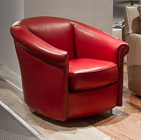 Prime Bradington Young Red Leather Swivel Tub Chair Jeffs Finds Ibusinesslaw Wood Chair Design Ideas Ibusinesslaworg