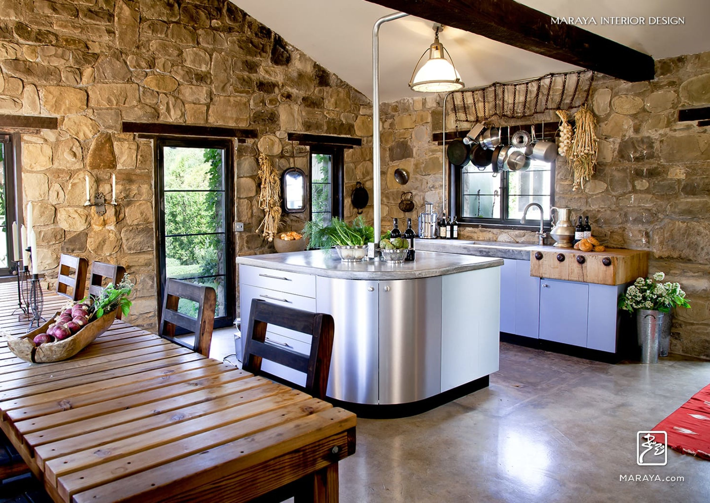 Old Stone Cottage With Modern Steel Kitchen Cabinets Concrete Floor And Counters Maraya