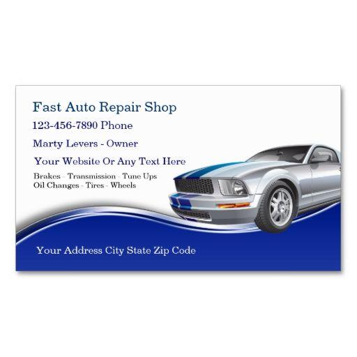 Automotive Business Cards Zazzle Com Auto Repair Shop Automotive Auto Repair