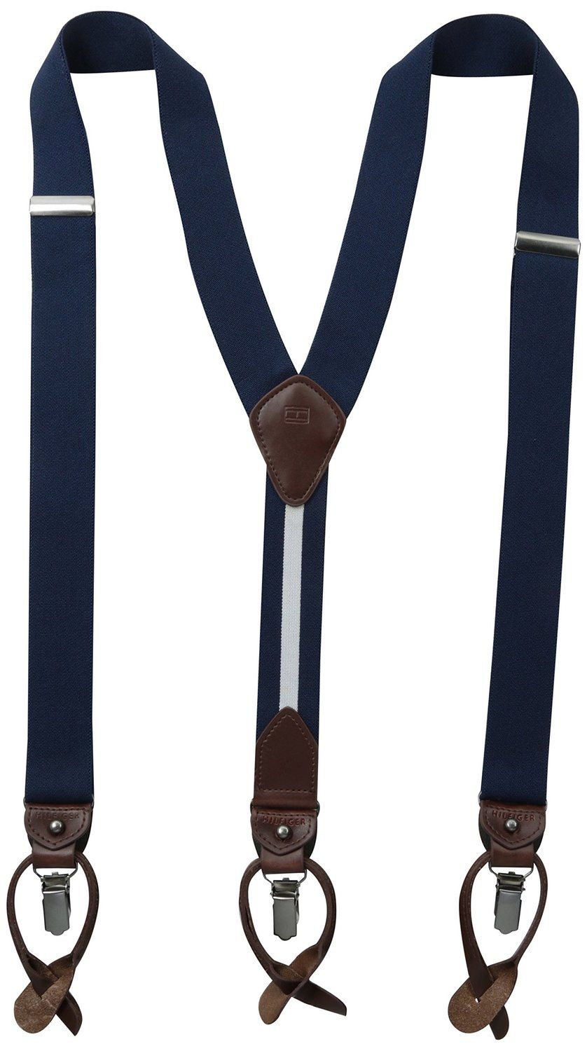 One Size Tommy Hilfiger Men/'s Black Solid Stretch Convertible Suspenders