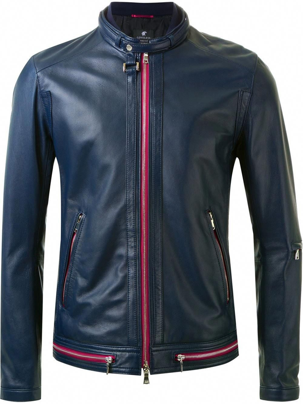 fd8b61ec79af LOVELESS Navy Blue Lambskin Zip Jacket from Farfetch #LeatherJacket  #LOVELESS #Farfetch #leatherjacketsformenblue