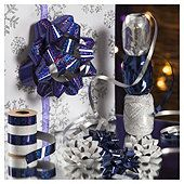 Christmas Ribbon and Bow Accessories Pack, Silver and Blue