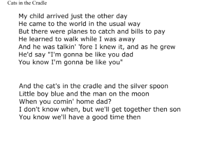 Lyrics To Cats In The Cradle Inferencing Cats Cradle Lyrics My Love