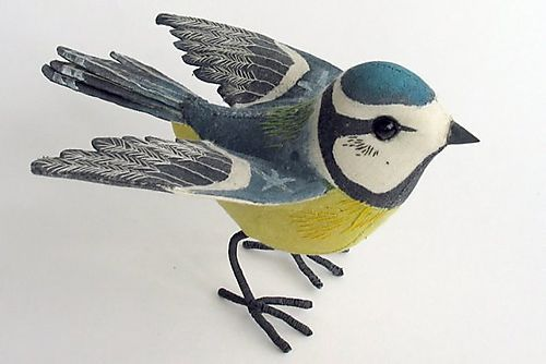 hand painted embroidered birds