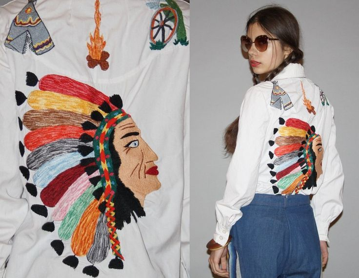 cfacfdec1d891 1960s Novelty Native American Indian First Nations Chief Teepee Embroidered  White Button Up Western Women s Blouse Top - blue short sleeve blouse