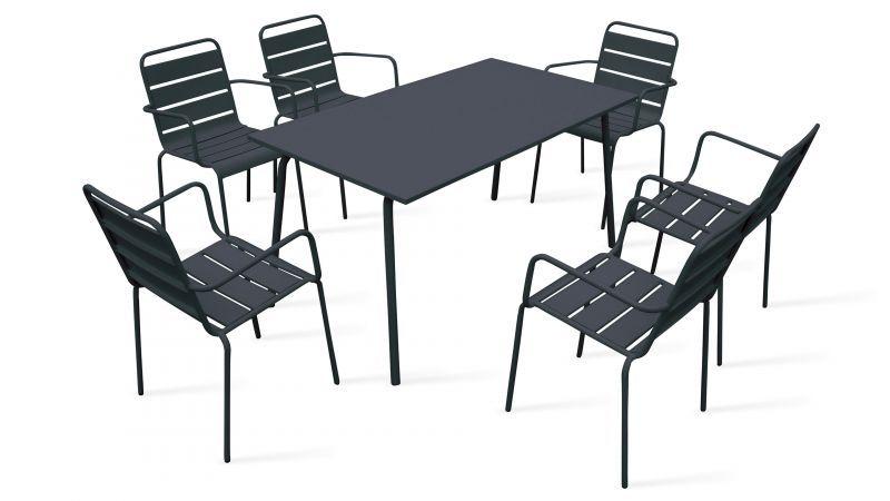 Table De Jardin Et 6 Fauteuils En Acier Salon De Jardin Design Table Et Chaises De Jardin Chaise Jardin Metal