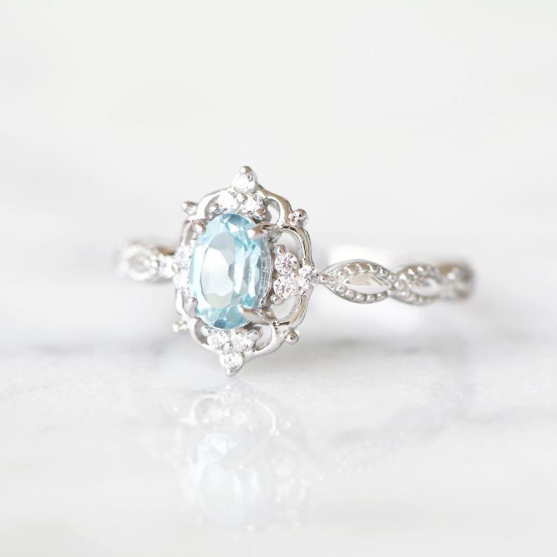 Sterling Silver Ring March Birthstone Ring Set Natural Aquamarine Round 8mm Engagement Ring and Diamond Simulant Wedding Band Set