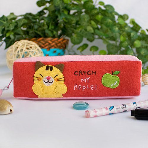 [Catch My Apple] Embroidered Applique Pencil Pouch Bag