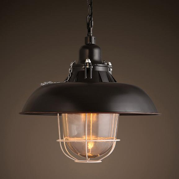 Helmut Glass Shade Industrial Pendant Light Short Hanging