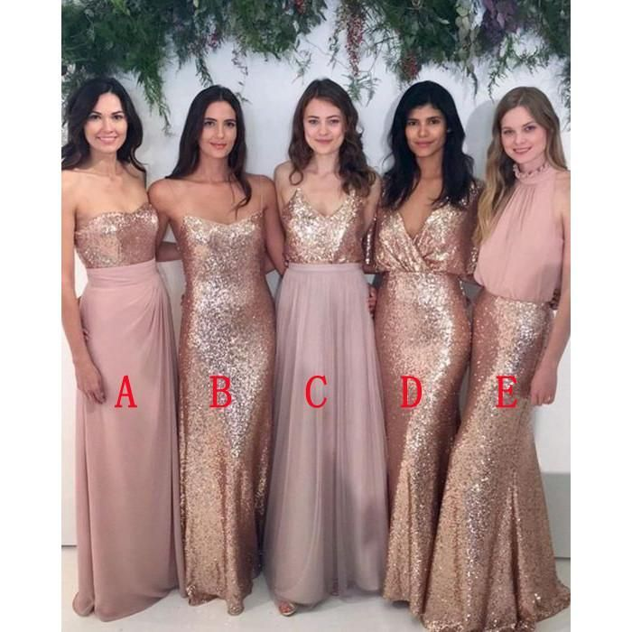 Affordable Mismatched Sequin Charming Long Bridesmaid Dresses ...