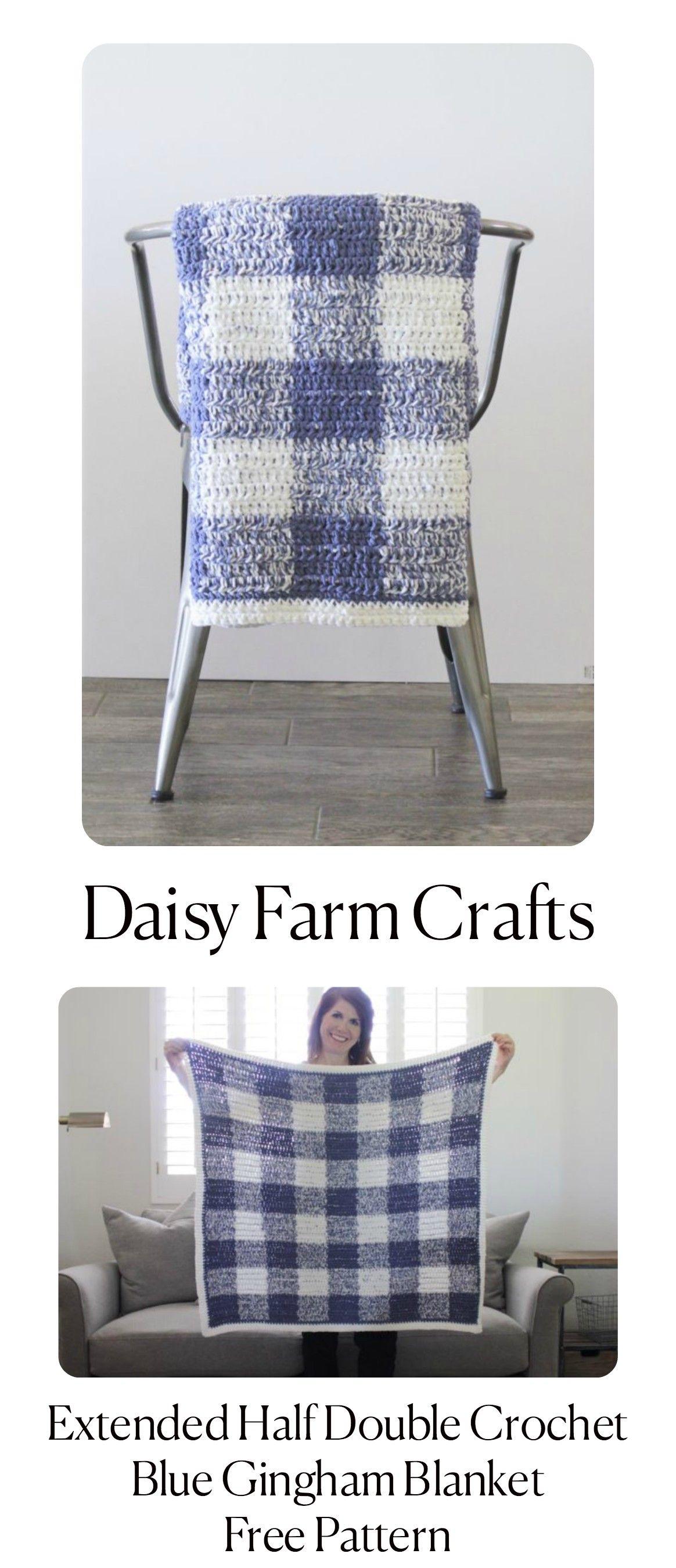 Extended Half Double Crochet Blue Gingham Blanket - Free Pattern ...