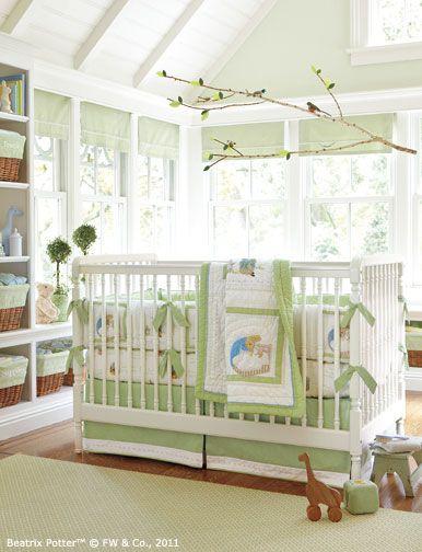 Nursery Light Green White Neutral Beatrix Potter Peter