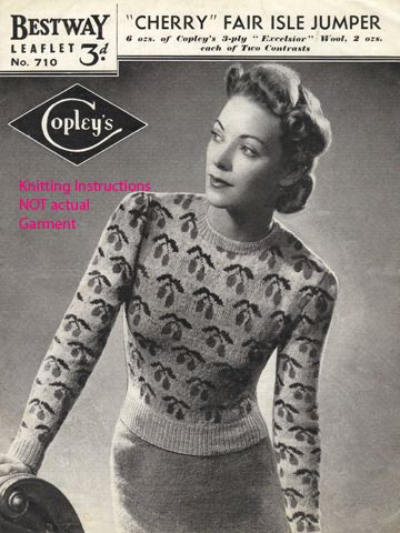 Knitting Pattern cherry fair isle jumper 1940s Vintage   eBay ...