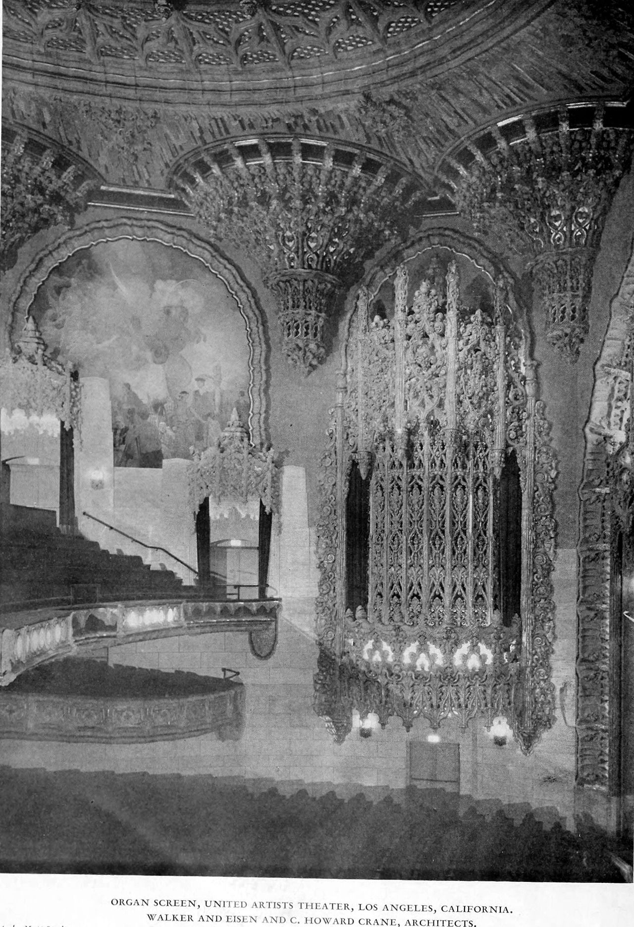 View onto the organ screen at the United Artists Theater