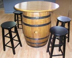 Whiskey barrel bar table set