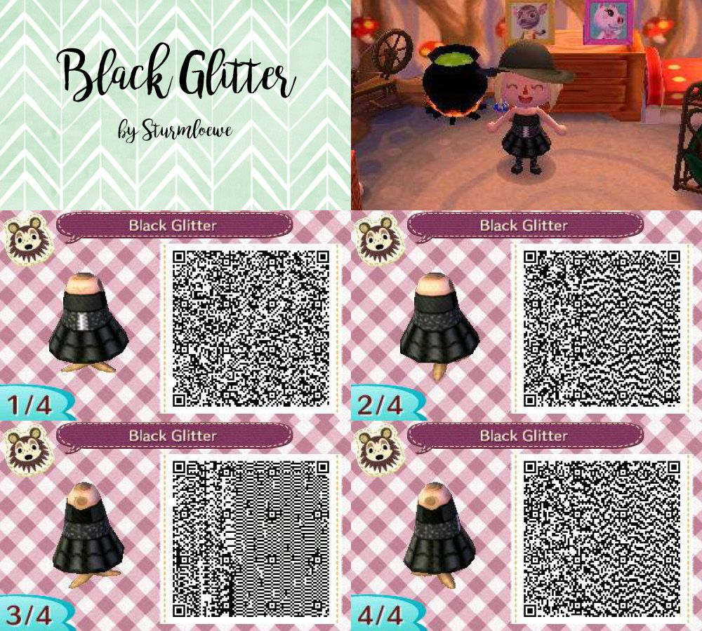 Black dress qr code - Animal Crossing New Leaf Qr Code Cute Modern Black Glitter Dress Outfit Fashion Mode Clothes Acnl
