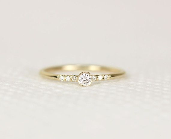 GIA 14k Solid Yellow Gold Diamond Engagement Ring Simple Engagement Ring Sta