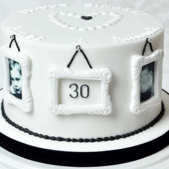 Monochrome Husband & Wife 30th Birthday Cake