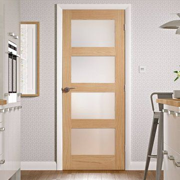 Fire Rated Shaker 4 Pane Oak Door Obscure Glass 1 2 Hour Fire Rated Oak Fire Doors Fire Doors Glass Doors Interior