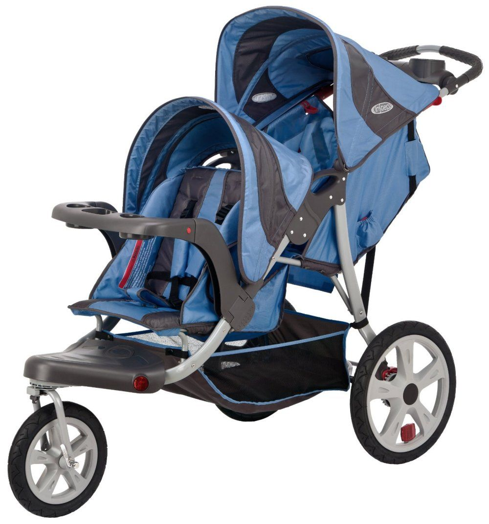 InSTEP Safari Blue/Gray Jogger Double Seat Stroller | Jogging ...
