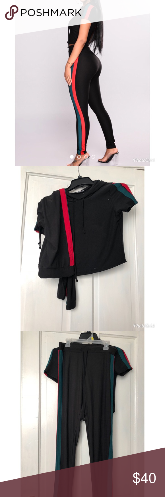 4018f63b0 2 Piece Set Gucci Inspired Hooded Crop Top and Leggings Set. Both Top and  Bottom are. Medium Fashion Nova Other
