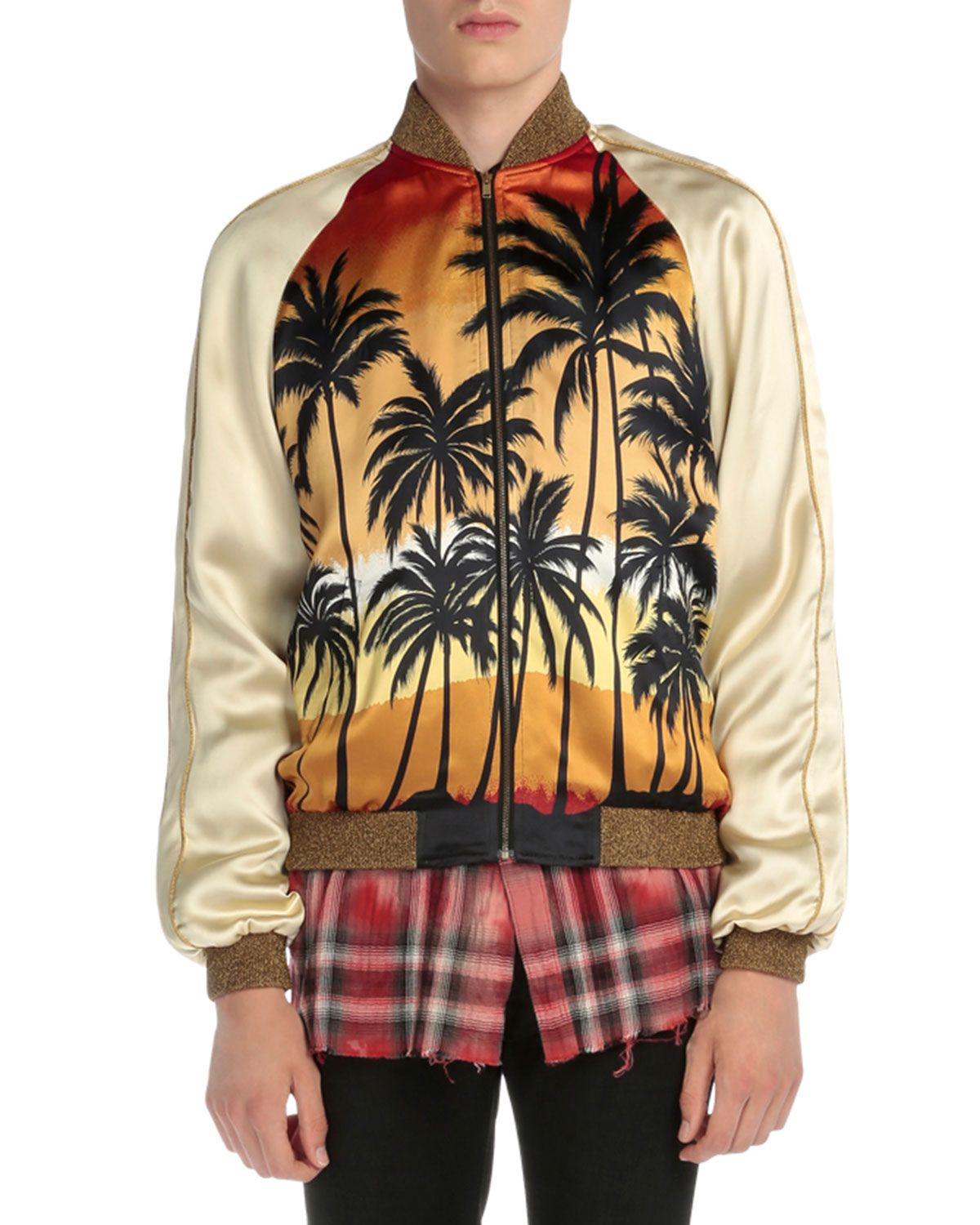 c7ee706d1af Yves Saint Laurent Palm Tree-Print Satin Bomber Jacket, Multi, Men's, Size:  50