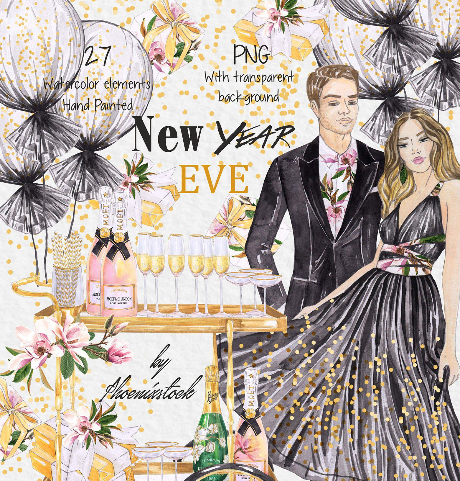 Watercolor New Year Clip Art New Year Eve Wedding clip art